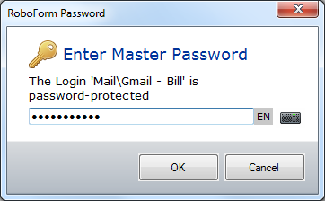Request Master Password dialog