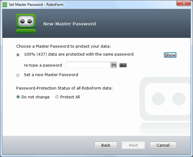 Set Master Password Dialog