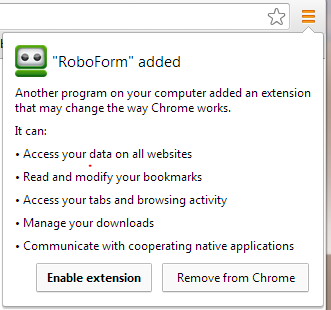 This image depicts how to enable the Robform Password Manager in Chrome.