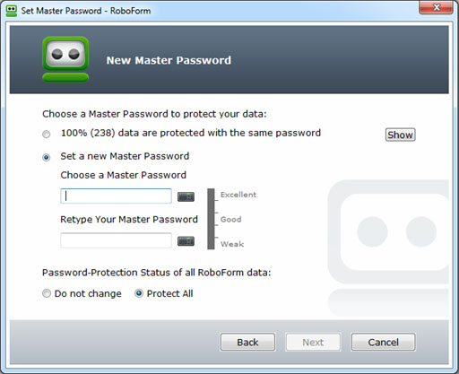 Enter your New Master Password