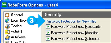 Enable password protection on newly created files