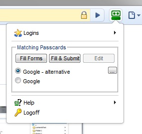 RoboForm for Chrome Matching Passcard list